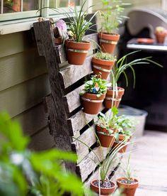 vertikální zahrádka, květinová stěna, vertikální pěstování rostlin, paleta, recy věci , ze staré palety návod, jak na to