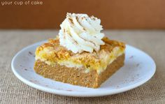 This creamy dump cake merges pumpkin pie and cake for a spiced and luscious dessert.