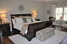 Gorgeous, peaceful bedroom in gray, taupe, & brown. via Simplicity Interiors at HGTV's Rate My Space