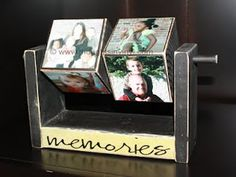 Rotating Photo Cubes in Stand. Maybe do it more crisp and clean...I don't like the distressed look!