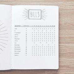 Sandy @abulletandsomelines's Bullet Journal bills log