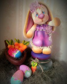 Coelhinha by Iterlano y Diego Pasta Flexible, Cold Porcelain, Biscuits, Polymer Clay, Rabbit, Bunny, Jar, Boxes, Bottle