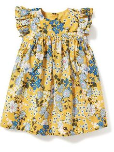 Floral-Print Flutter-Sleeve Dress for Baby