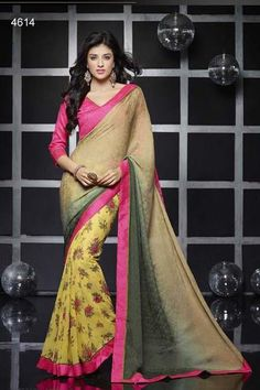 Get yourself look like a Diva in this impressive Yellow & Chikkoo color printed Saree with Georgette fabric.