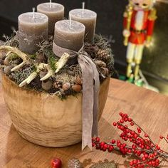 Diy Christmas, Christmas Decorations, Table Decorations, Grey Candles, Joy, Instagram, Home Decor, Candle Arrangements, Rustic Christmas