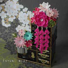 katumi made *手作りしましょう*つまみ細工の簪(かんざし)七五三の髪飾り、三歳用ぱっちん留め(スリーピン)