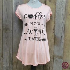 For those of you who love the sweet aroma of java in the morning and sweet taste of wine with dinner, this is the tunic for you! These coffee and wine tunics pair perfectly with your morning cup of joe and your favorite pair of leggings. They are a perfect match for your glass of evening wine, dessert and jeggings! These tunics are available in three fantastic fall colors. Black, charcoal and baby pink.