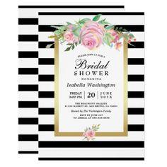 #bridal #shower #invitations - #Modern Black Stripes Gold Floral Bridal Shower Card