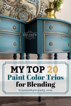 My Favorite Paint Color Trios for Furniture Painting! -Brushed by Brandy Brandy's most loved Paint color combos for creating perfect blends on furniture! Refurbished Furniture, Repurposed Furniture, Furniture Makeover, Rustic Furniture, Furniture Refinishing, Old Furniture Painted, Modern Furniture, Distressed Furniture Painting, Furniture Vintage