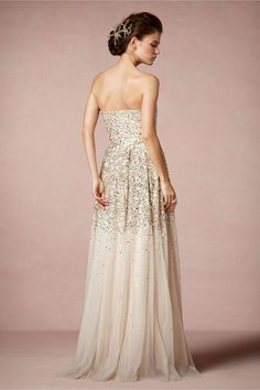 Isadora Gown from BHLDN. It's perfect. Shiny and tons of nude tulle!