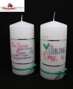 Zum Muttertag oder Omatag :-) 8,50 /Stk. #Muttertag #kerzezummuttertag #lieblingsoma #DasEinzigeMama Big Shot, Pillar Candles, Mother's Day, Candles, Crafts, Birthday, Gifts, Crafting, Kids
