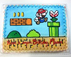 An order came in for a Mario cake so I jumped on that sucker like a fat kid on cake (hahaha. I know sticking Paper Mario in a NES Mario background i. It'sa me, Mario cake Mario Birthday Cake, Birthday Sheet Cakes, Super Mario Birthday, Elsa Birthday, 10th Birthday Parties, 8th Birthday, Birthday Party Decorations, Birthday Ideas, Bolo Do Mario
