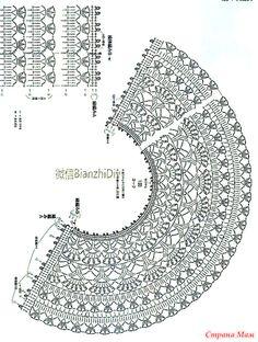 Fabulous Crochet a Little Black Crochet Dress Ideas. Georgeous Crochet a Little Black Crochet Dress Ideas. Poncho Crochet, Col Crochet, Crochet Lace Edging, Crochet Skirts, Crochet Collar, Crochet Diagram, Crochet Chart, Filet Crochet, Crochet Clothes