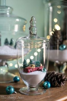 christmas apothecary jars - create your own snow scene inside a glass vase for beautiful and creative christmas decoration. by catarina freitas