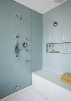 Back painted glass shower for Back painted glass tile