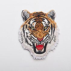 Leopard Tiger lion wolf Embroidery Iron on Patches for Clothing Applique DIY Hat Coat Dress Accessories Cloth Sticker Anima Diy Patches, Iron On Patches, Bag Jeans, Badge, Embroidery Patches, Embroidered Patch, Tactical Patches, Tiger Head, Shirt Bag