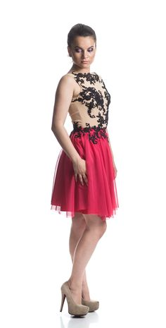 Etiquette Boutique-Black lace and red silk dress, evening dress