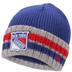 Mens New York Rangers New Era Royal Blue Cuff Striper Beanie 65e59c39aa7b