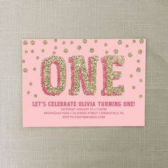 First Birthday Invite Pink and Gold by CreativeUnionDesign, $12.00