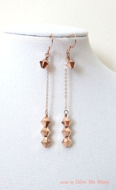 Rose Gold Earrings -rose gold filled, hand beaded, Swarovski rose gold beads, love, quirky, simple, chic, pink gold fashion, everyday pretty, www.colormemissy.com, by ColorMeMissy
