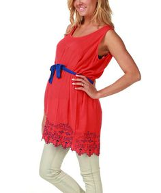 Look at this #zulilyfind! Coral & Blue Embroidered Maternity Sleeveless Tunic #zulilyfinds $26.99