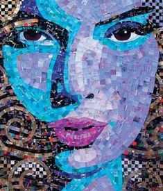 Recycled cards and magazines paper mosaic. Awesome. I am working on my own right now and wanted to see how others are doing it.