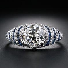 Diamond and sapphire Art Deco engagement ring, circa 1920s.