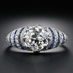 Diamond and sapphire Art Deco engagement ring, circa 1920s.