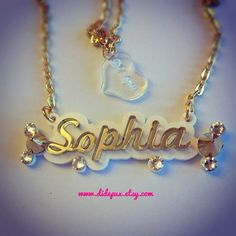 Spikes name necklace by didepux on Etsy, €26.00