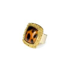 All the Rage Animal Square Stretch Ring from LittleBlackBag.com  ::Gold:: Animal print:: Ring:: Square