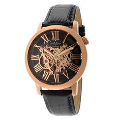 Rotary Swiss Automatic Rose Gold Tone Skeleton Watch #skeletonwatch