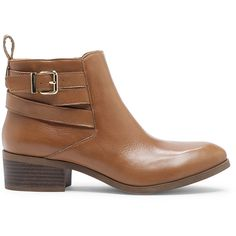 Sole Society Hala Buckled Bootie ($100) ❤ liked on Polyvore featuring shoes, boots, ankle booties, tan, leather ankle booties, tan leather booties, tan leather boots, stacked heel booties and leather boots