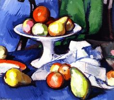 """Nature morte de fruits"", huile sur toile de Samuel John Peploe (1871-1935, United Kingdom)"
