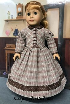 War Dress made to fit American Girl Doll -Plaid Civil War Dress made to fit American Girl Doll - American Girl Style Edwardian Jumper and Blouse in Gray with Black Ribbon Black on biege cotton print Civil war dress by Keepersdollyduds American Girl Crafts, American Doll Clothes, Girl Doll Clothes, Girl Dolls, American Dolls, Ag Dolls, Barbie Clothes, Doll Dress Patterns, Clothing Patterns