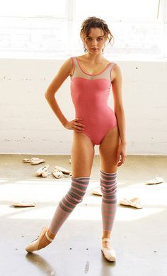 GISELLE SOLID LEOTARD WITH MESH : BLUSH WITH GREY