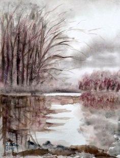 'Landschaft am Wasser' von Irina Usova bei artflakes.com als Poster oder Kunstdruck $19.41