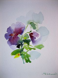 Pansy WATERCOLOR: (food art watercolor)