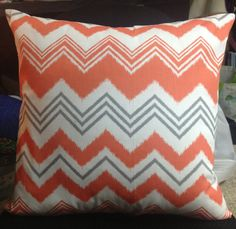 Clementine and Slate Gray Chevron Pillow Cover 18 by LovesLoft, $12.00