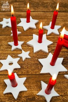 Easy to make DIY Clay Star Candle Holders, which are perfect for the festive season.  Inspired by Scandinavian Christmas decorations.