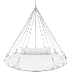 Sorbus Hanging Swing Nest Pillow, Double Hammock Daybed Saucer Style Lounger Swing, 264 Pound Capacity Indoor/Outdoor Use (Swing Nest - White) Hanging Egg Chair, Hanging Beds, Hanging Hammock, Hammock Swing, Hammock Chair, Swinging Chair, Swing Chairs, Desk Chairs, Bedroom Hammock