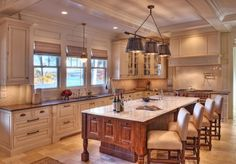 Love L space between sink and stove and just right distance to island  - I'd change chairs and faucets