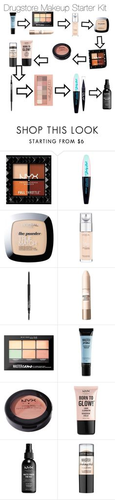 """""""Drugstore Makeup Starter Kit"""" by mdiab438 on Polyvore featuring beauty, Maybelline, L'Oréal Paris and NYX"""