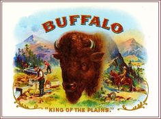 1919 Buffalo Bison Smoke Vintage Cigar Tobacco Box Crate Inner Label Print in Collectibles, Advertising, Merchandise & Memorabilia | eBay