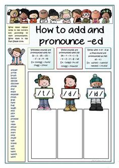 My young students find hard to know when -ed is pronounced t, d or id. I've planned this worksheet to give them some tips and practice. You can change the examples given. Key provided - ESL worksheets