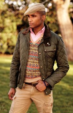 RalphLauren, Fair Isle Sweater Vest, Quilted Olive Hunting Jacket, and Tweed Cap. Men's Fall/Winter Fashion.