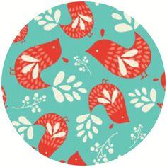 Heather Rosas Folklore - birds on Turquoise #fabric
