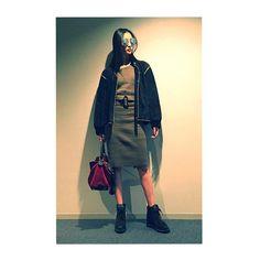 "NANAO1028 on Instagram: ""#outfit #ootd  SUNGLASSES: #Vivant JACKET: #SaintLaurent (vintage)  SETUP: #Sly BAG: #Loewe SHOES: #MiharaYasuhiro"""