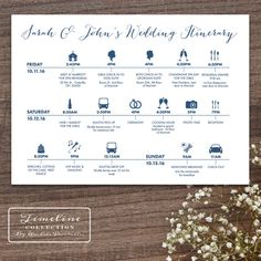 Printable Wedding Timeline Day Of Itinerary Schedule Card - three lines, 5 x 7, multi day, weekend