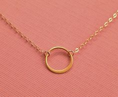 Small Gold Circle Necklace Tiny Circle by TangerineCrimeScene, $28.00