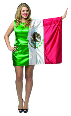 #1966 Flag Dress Mexico - Show your pride, support, and love of country in your very own Flag tunic.  Generously cut to fit most, cheer on the National team, wear in parades, or even get spotted at the next World event!  Polyester.  One Size. #mexicoflag #flagdress #event #halloween #holidayevent #funfestival #flagcostume